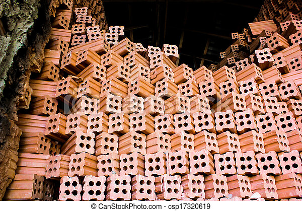 brick kiln. collection set of red bricks stack in oven factory before logistic transportation - csp17320619