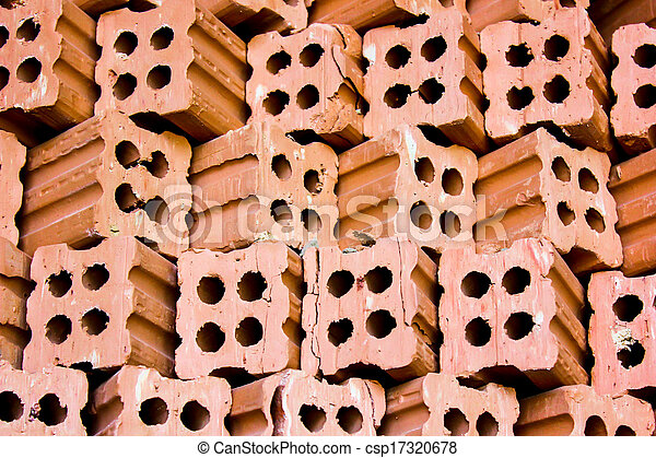 brick kiln. collection set of red bricks stack in oven factory before logistic transportation - csp17320678