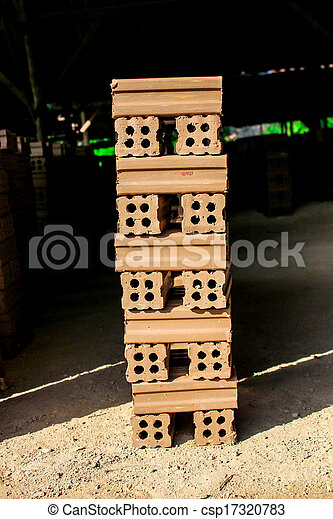 brick kiln. collection set of red bricks stack in oven factory before logistic transportation - csp17320783