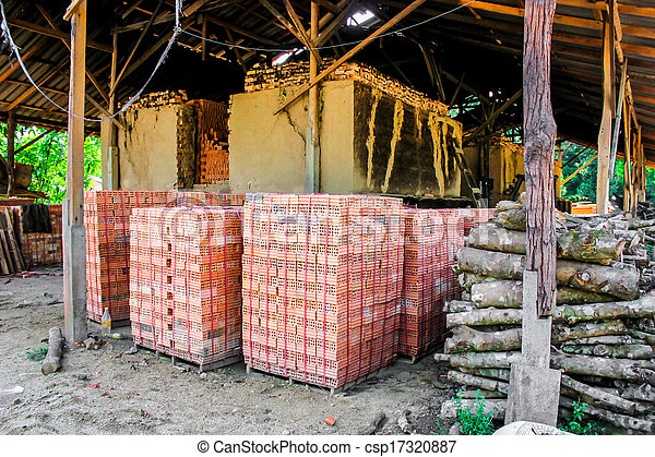 brick kiln. collection set of red bricks stack in oven factory before logistic transportation - csp17320887