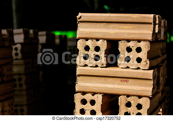 brick kiln. collection set of red bricks stack in oven factory before logistic transportation - csp17320752