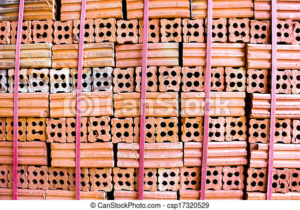 brick kiln. collection set of red bricks stack in oven factory before logistic transportation - csp17320529