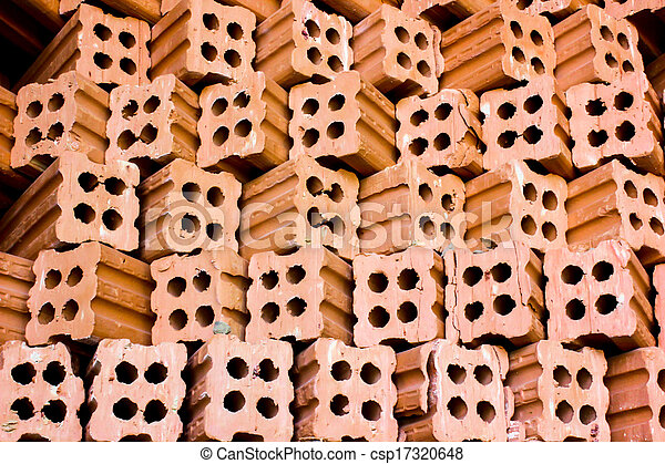 brick kiln. collection set of red bricks stack in oven factory before logistic transportation - csp17320648