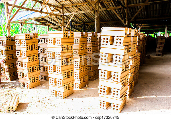 brick kiln. collection set of red bricks stack in oven factory before logistic transportation - csp17320745