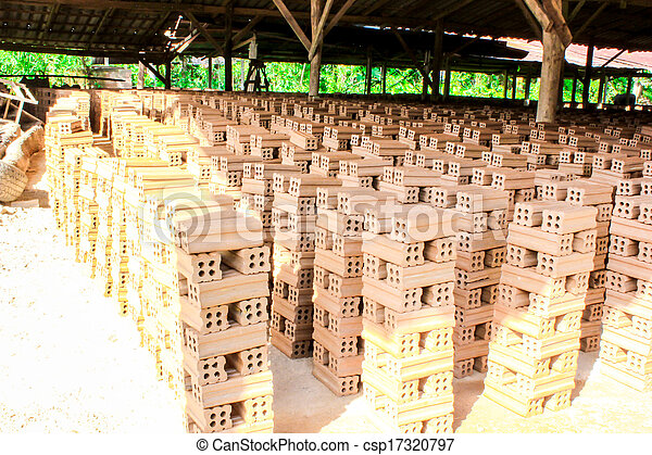 brick kiln. collection set of red bricks stack in oven factory before logistic transportation - csp17320797