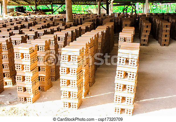 brick kiln. collection set of red bricks stack in oven factory before logistic transportation - csp17320709
