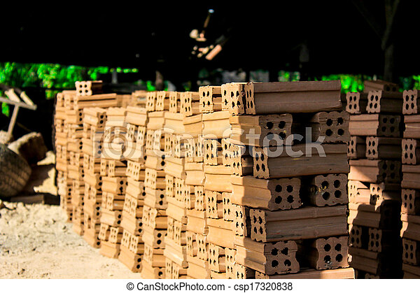 brick kiln. collection set of red bricks stack in oven factory before logistic transportation - csp17320838