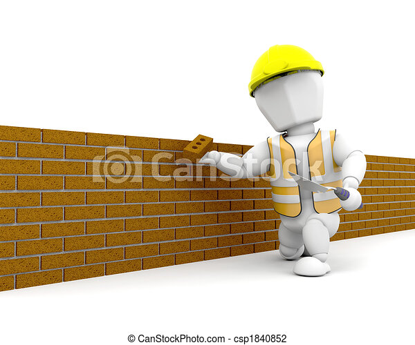 Brick Layer 3d Render Of A Person Building Wall
