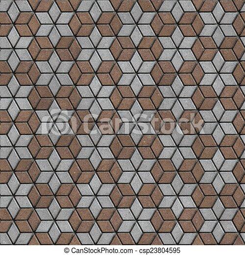 brick pavers laid as flowers seamless texture brown gray pavement