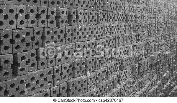 Brick Pile In Black And White Tone - csp42370467