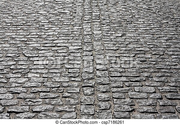 Old Cobblestone Road Brick road. Old style ...