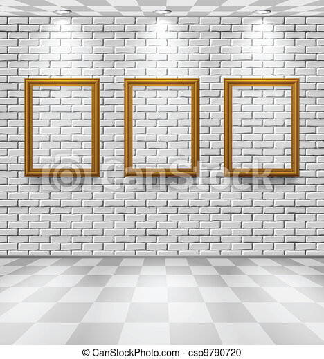 Brick room with frames - csp9790720