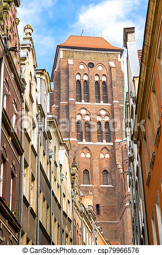 Brick tower of Basilica St Marys Church Cathedral, Gdansk, Poland - csp79966576