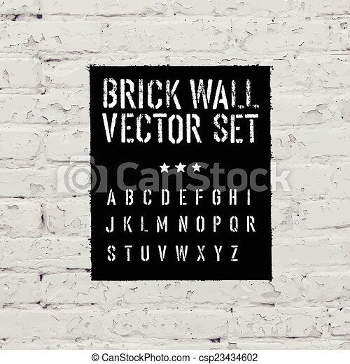 Brick traced texture, stencil alphabet and grunge rectangle. Thr - csp23434602