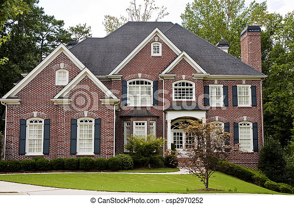 Brick Two Story with Japanese Maple - csp2970252