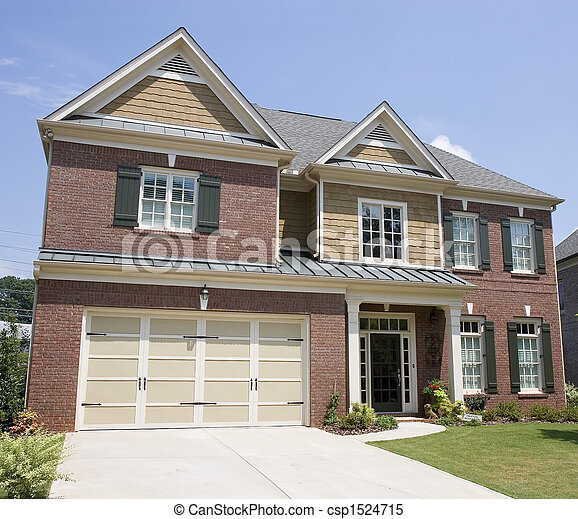 Brick Two Story with Wood Trim - csp1524715