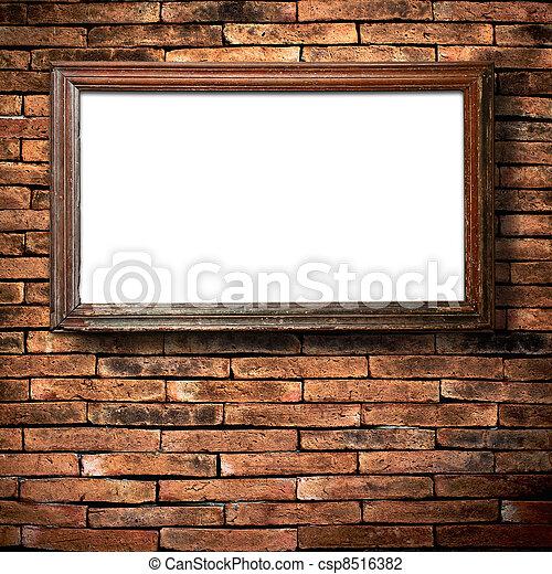 Brick Wall and Green Grass - csp8516382