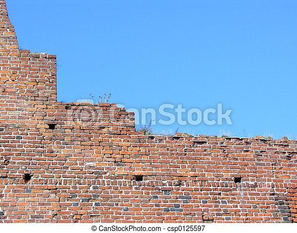 Brick wall and sky - csp0125597