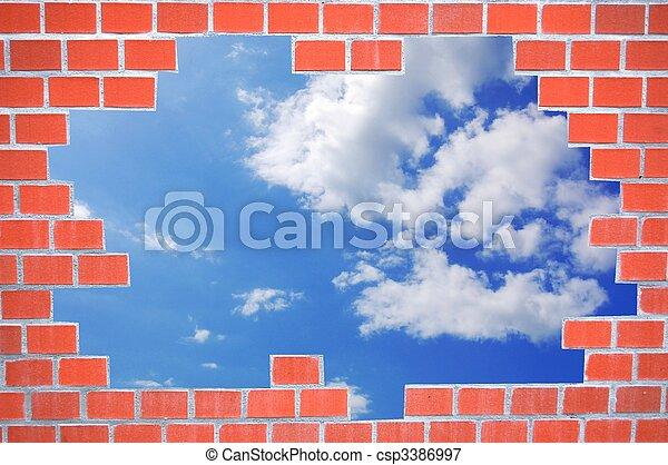 brick wall and sky - csp3386997