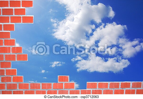 brick wall and sky - csp3712063