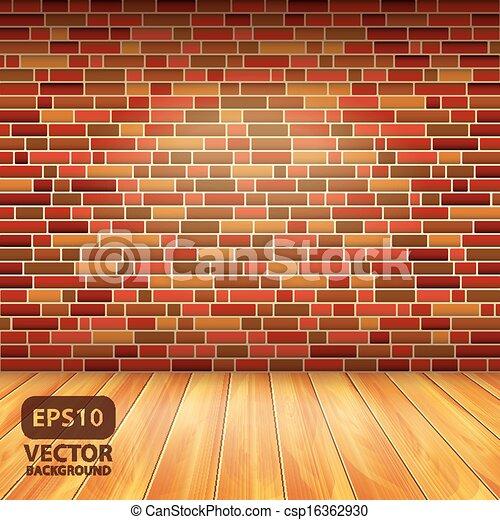 Brick Wall And Wood Floor Vector Background Interior With Brick