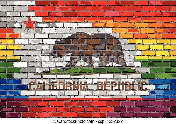 Brick Wall California And Gay Flags