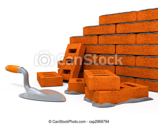 Brick wall construction of new house - csp2969794