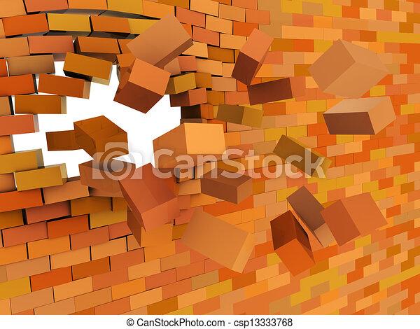 Brick Wall Crashing 3d Illustration Of Broken