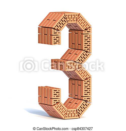 Brick wall font Number 3 THREE 3D - csp84307427