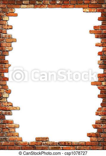 Brick wall grungy frame - csp1078727