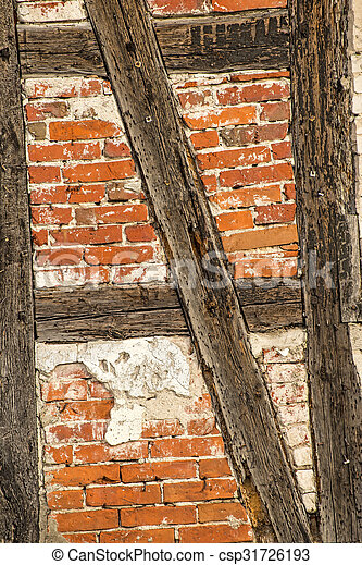 Brick wall of an old frame house.