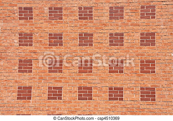 Brick Wall of Orange and Red Pattern - csp4510369