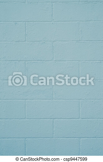 Brick wall painted with a blue paint  - csp9447599
