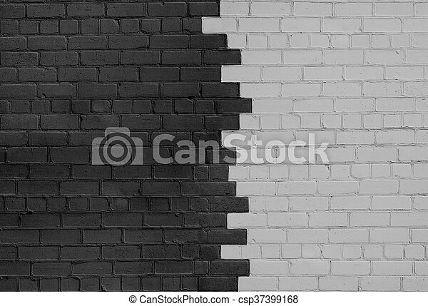 Brick Wall Parted on Dark and Light Sides - csp37399168