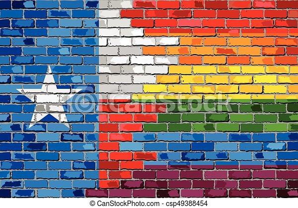 Brick Wall Texas And Gay Flags