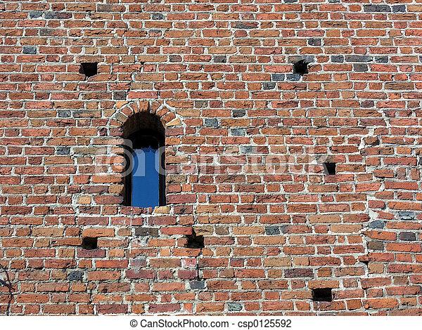 Brick wall - window - csp0125592