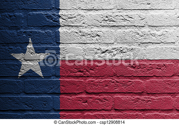 Brick wall with a painting of a flag, Texas - csp12908814