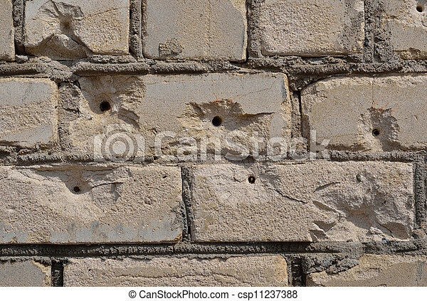 Brick Wall With Bullet Holes Stock Photo
