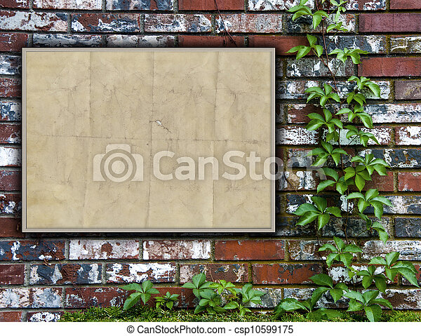 Brick Wall With Bulletin Board - csp10599175
