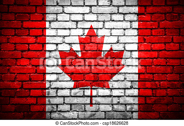 Brick wall with painted flag of Canada - csp18626628