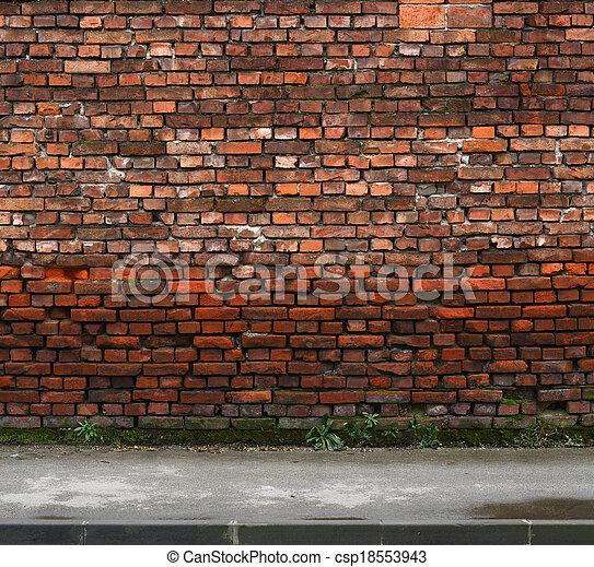 brick wall with sidewalk - csp18553943