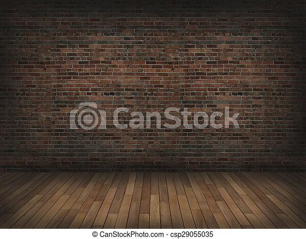 Brick Wall With Wood Floor3d