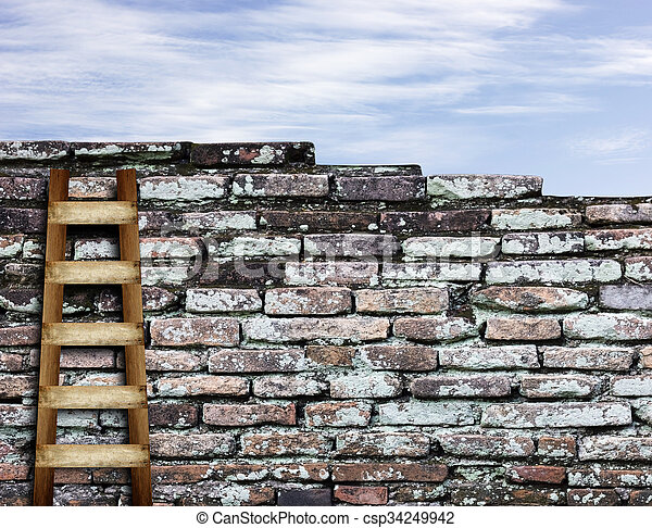 brick wall with wooden ladder background - csp34249942