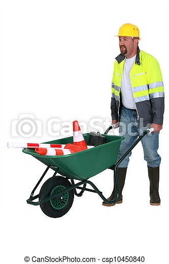 bricklayer with wheelbarrow - csp10450840