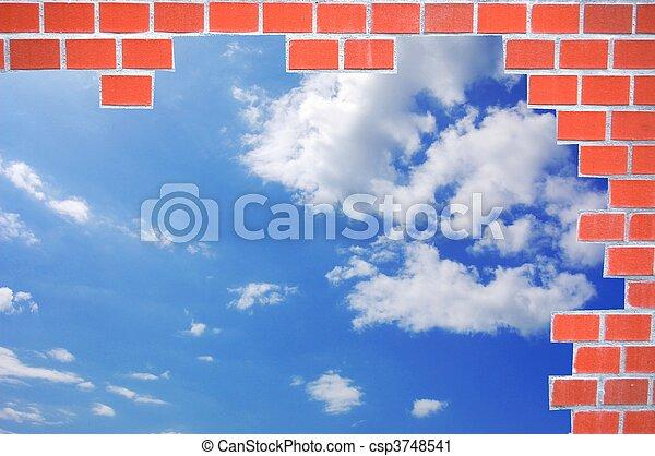 bricks and blue summer sky - csp3748541