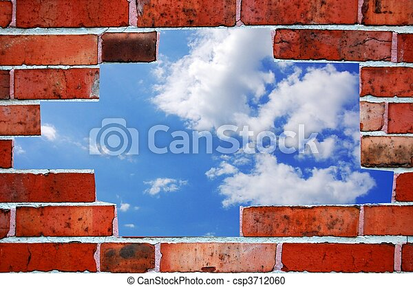 bricks and blue summer sky - csp3712060