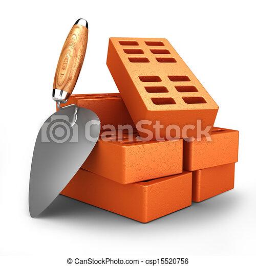 Bricks and trowel - csp15520756