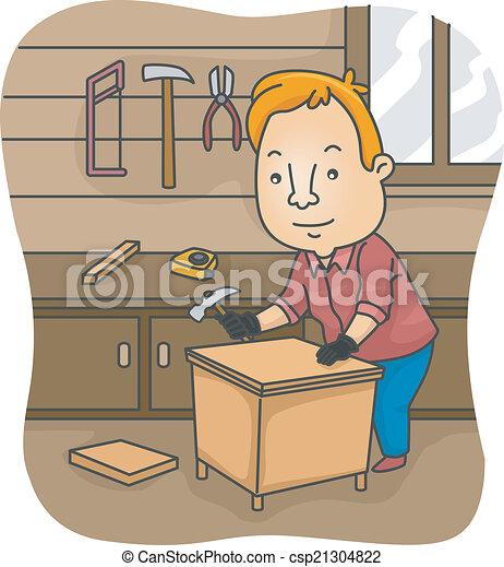Bricolage meubles propre construire illustration sien - Clipart bricolage ...