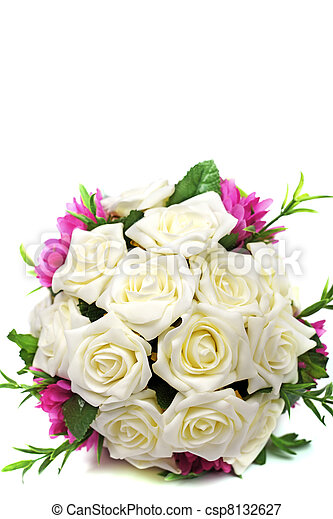 Bridal bouquet of roses isolated on white background. - csp8132627