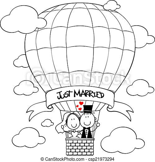 bridal couple on hot air balloon - csp21973294